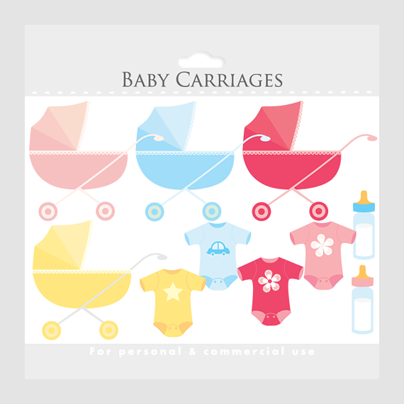 Baby clipart baby carriage clip art baby shower clip art for Baby shower decoration cutouts